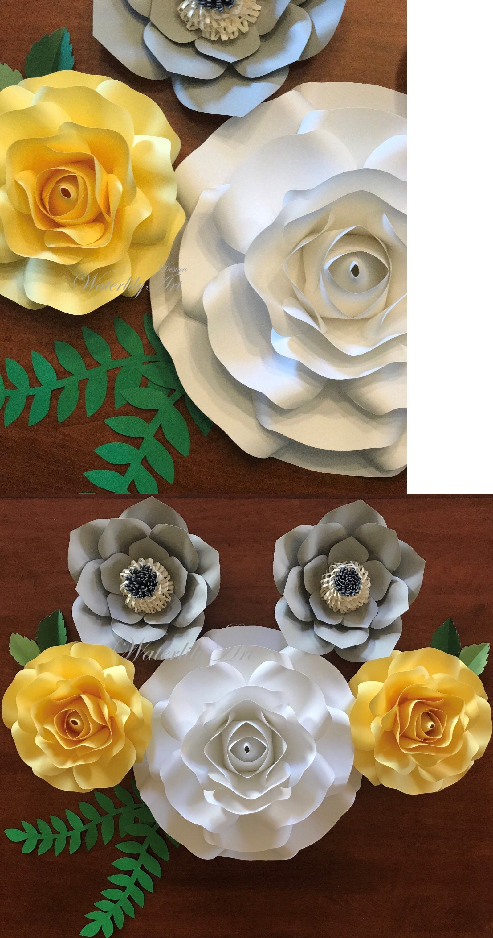 Flower embellishments 160734 white yellow grey paper flowers buy flower embellishments 160734 white yellow grey paper flowers buy it now mightylinksfo