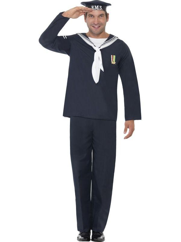 40s WW2 Naval Sailor Captain Seaman Officer Uniform Mens Fancy Dress Costume