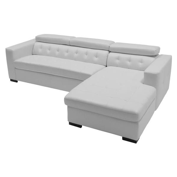 Melanie White Sleeper W Right Chaise Sofa Bed Living Room Corner Sofa White Sectional