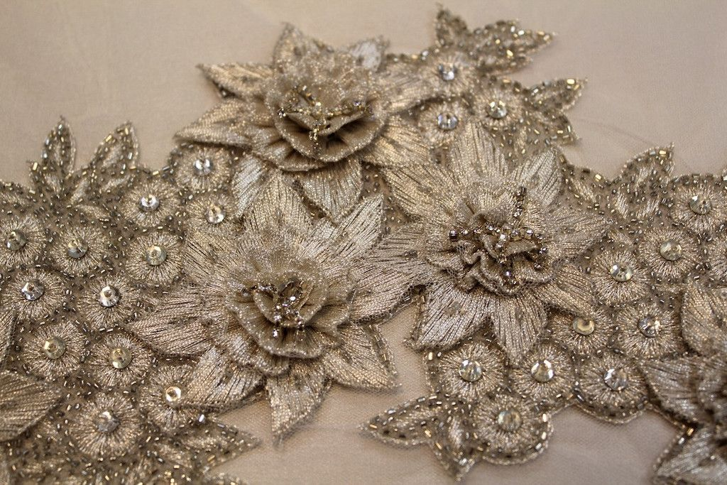 Silver Motif - Bridal - Tessuti Fabrics - Online Fabric Store - Cotton, Linen, Silk, Bridal & more