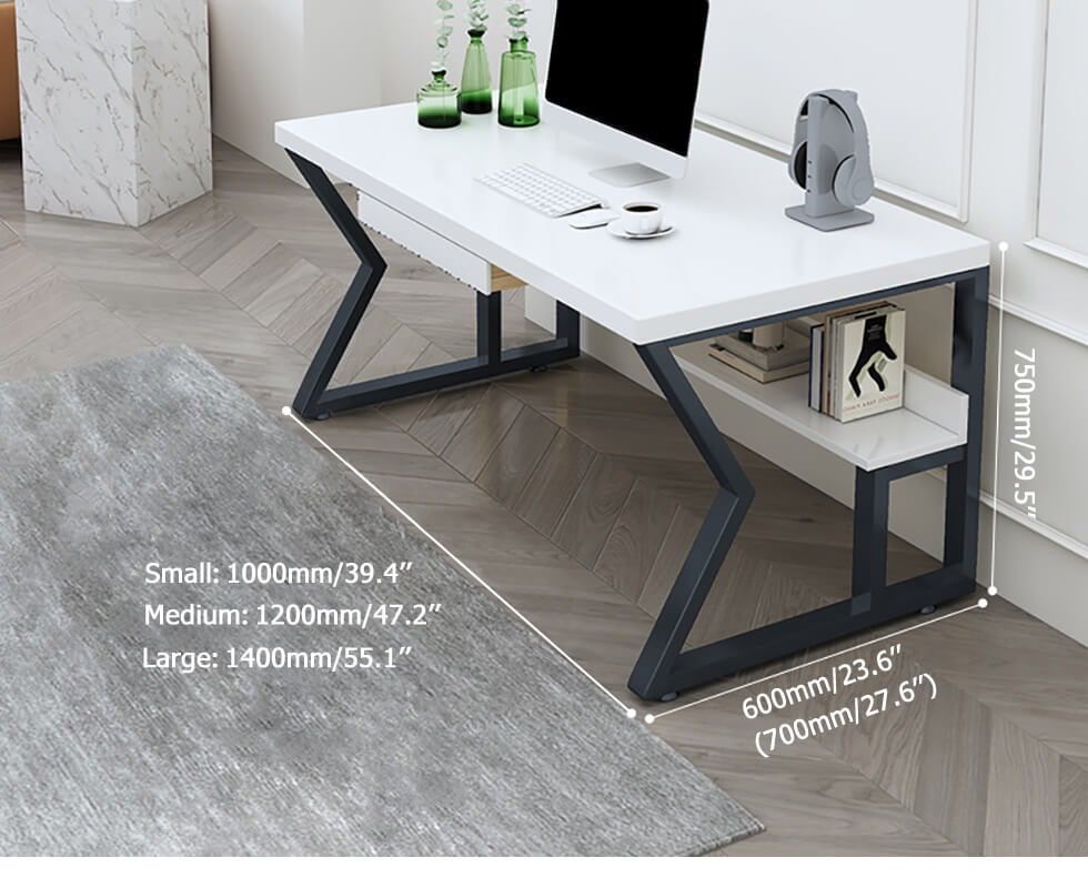 39 White Rectangular Writing Desk With Shelf Computer Desk With Keyboard Tray Desk Shelves Desk With Keyboard Tray Desk With Drawers