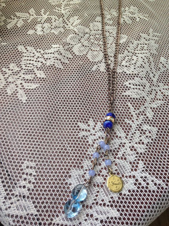 Virgo astrology sapphire necklace on Etsy, $32.00