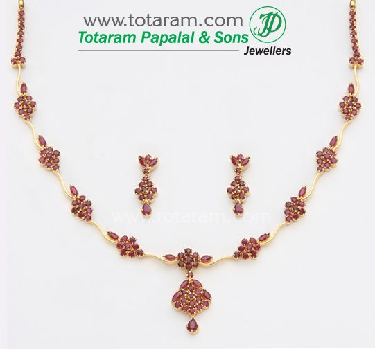 22K Gold Rubies Necklace Earrings Set GS494 Indian Jewelry