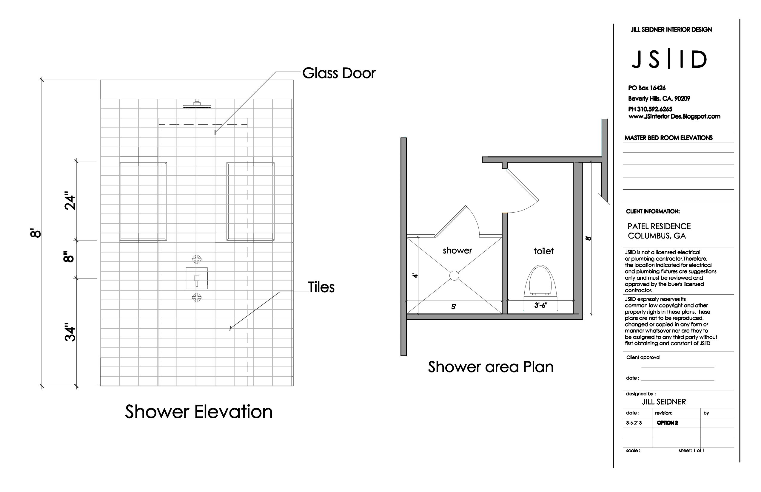 columbus  ga master bathroom elevation drawing shower