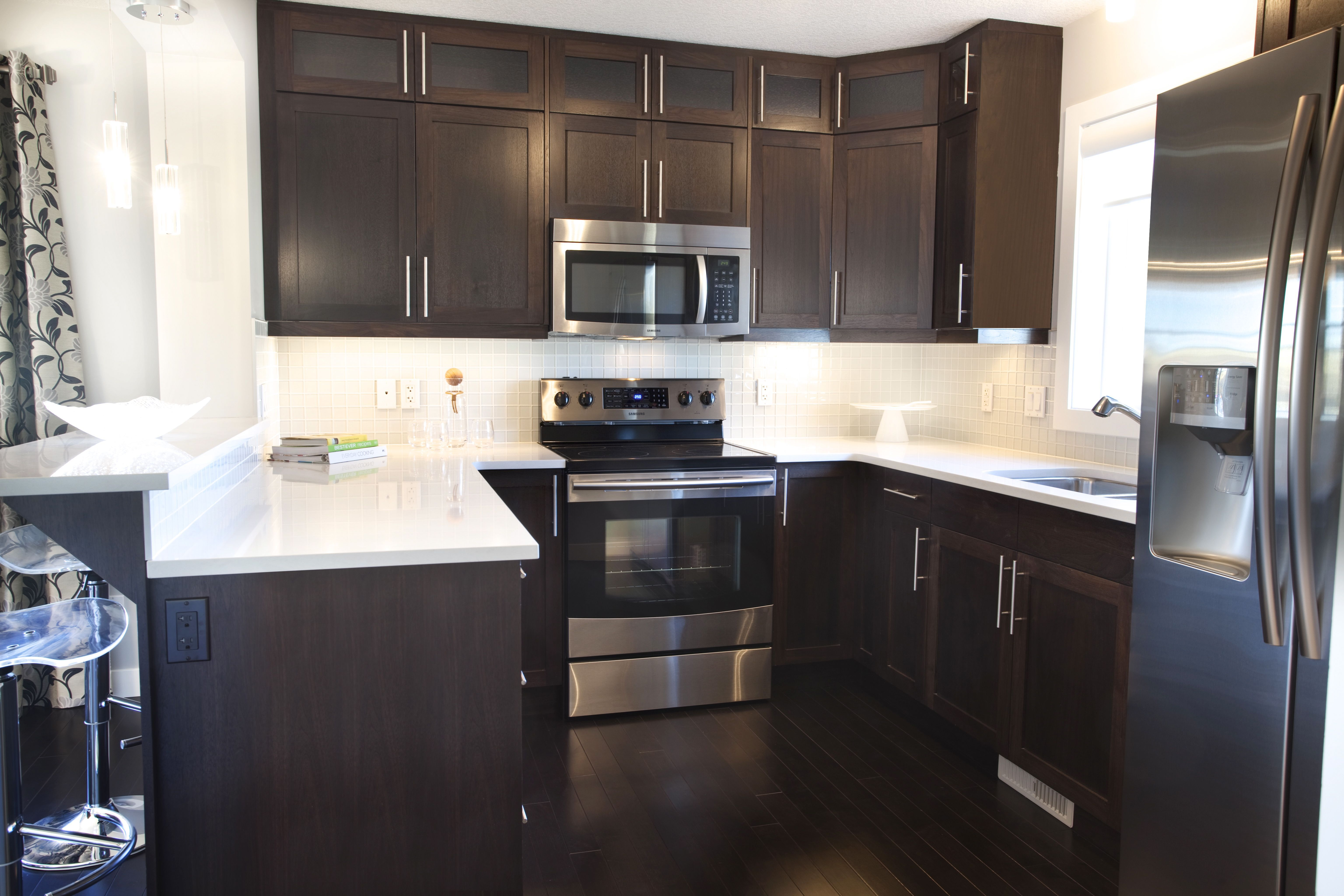 espresso and white kitchen cabinets durable flooring caesarstone quartz countertops organic for the