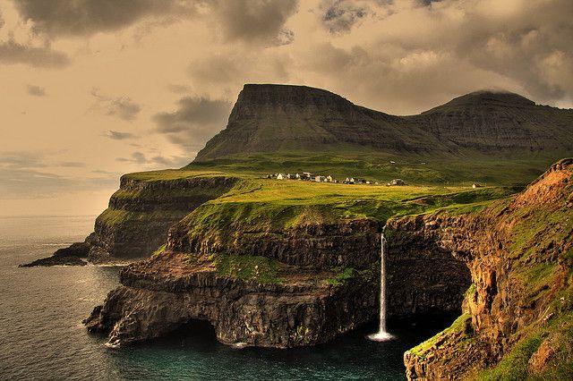 village of Gásadalur on the island of Vágar in the Faroe Islands.