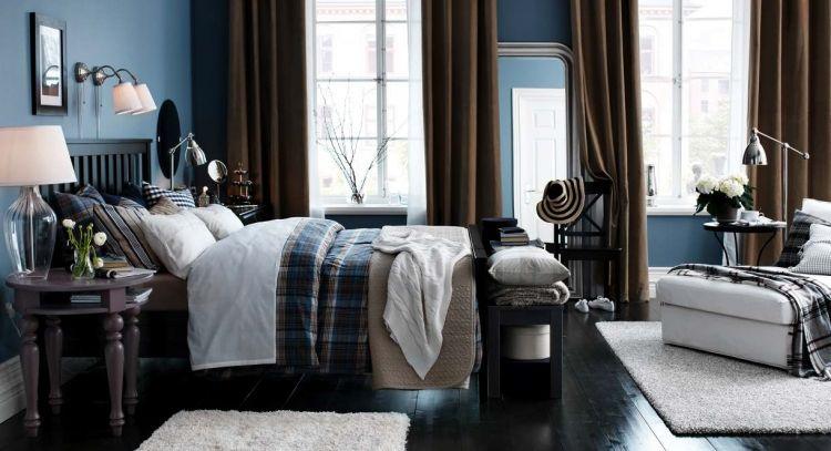 Ikea Schlafzimmer Design Dekoration Schick Gemuetlich Braun Blau Dielenboden