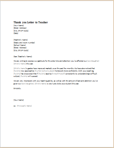 Thank You Letter To Teacher Download At HttpWwwDoxhubOrg
