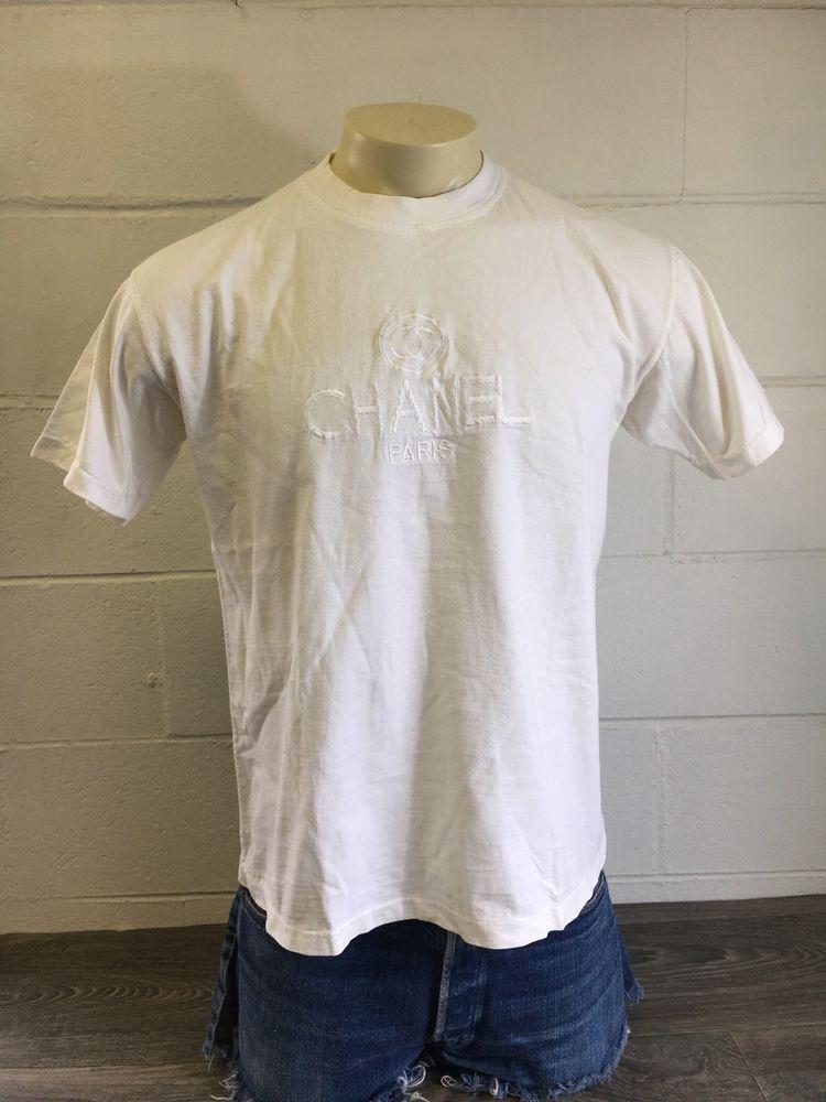 bab08e10 Chanel Shirt Vintage 80s 90s Coco Rare CC Logo Sewn Rare T-shirt White  Large #Chanel #GraphicTee