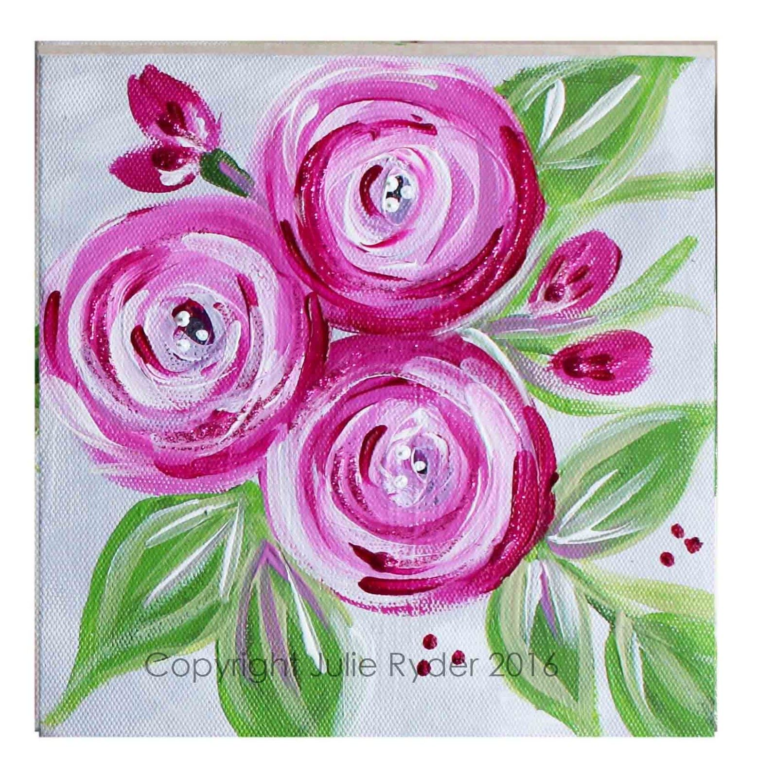 Made by me julie ryder flowers and swirls julie for Floral painting ideas