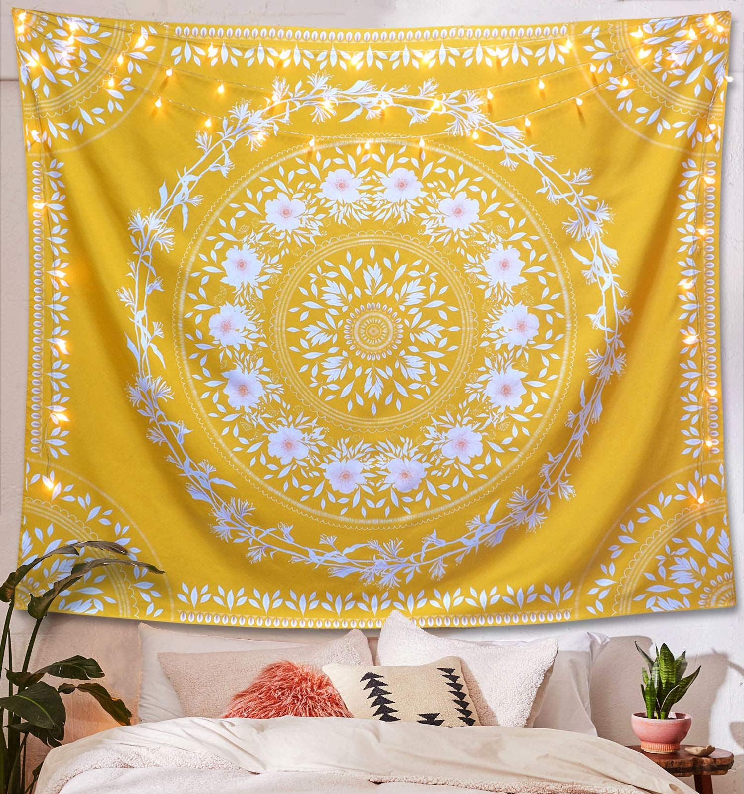 Lifeel Yellow Bohemian Tapestry Wall Hanging Mandala Floral Medallion Hippie Tapestry With White Aesthetic Wreath Desig Bildwirkerei Stoffwände Hipster Zimmer