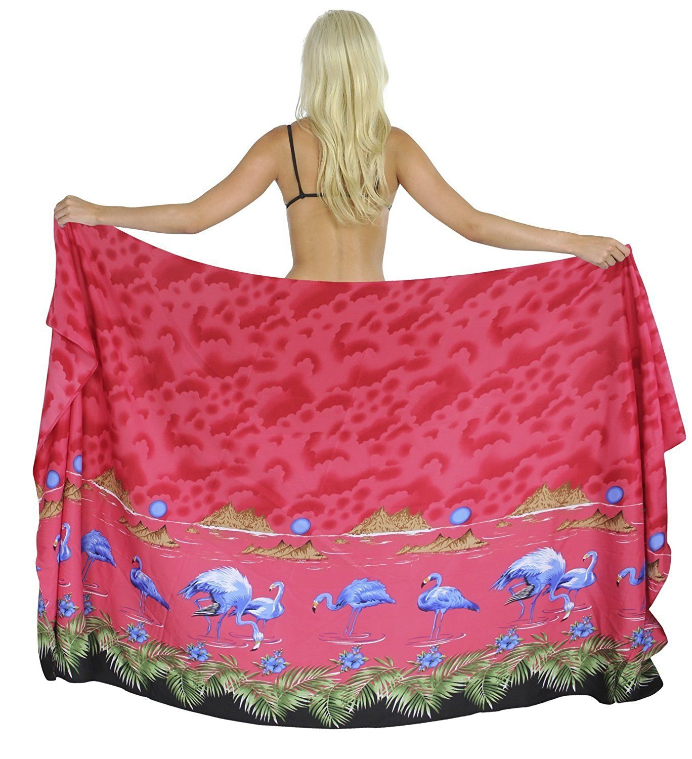 La Leela Women Likre Flamingo Mountains Sarong Cover up Pareo 88X39 Inch ** Wow! I love this. Check it out now! : Plus size swimwear