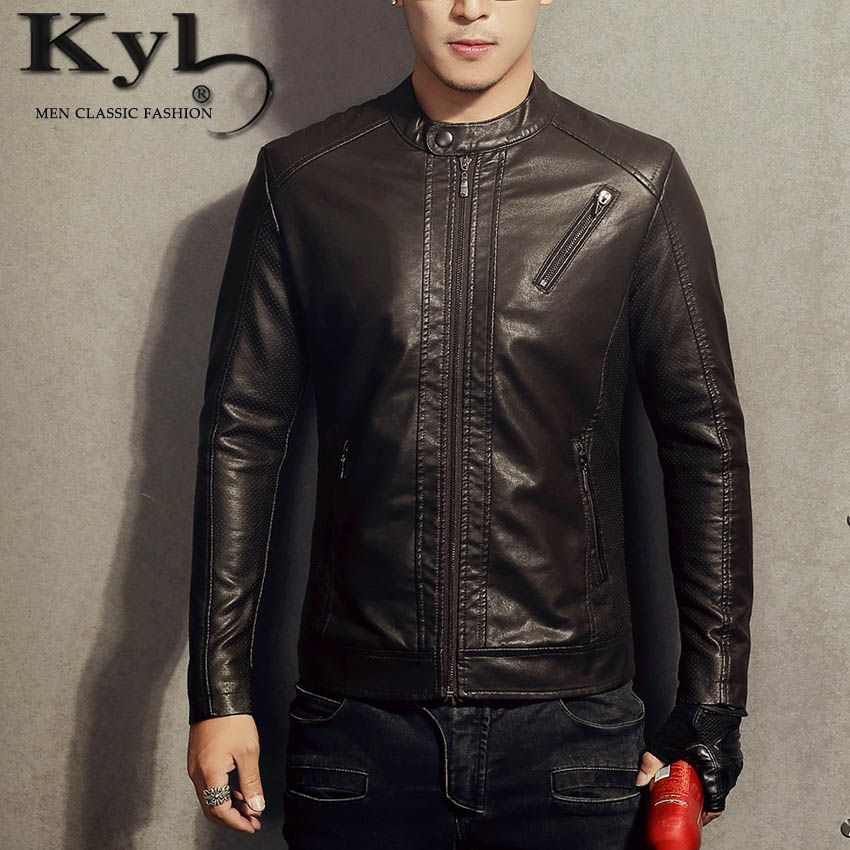 2016 New PU Leather Jacket Men Blue Solid Mens Faux Fur