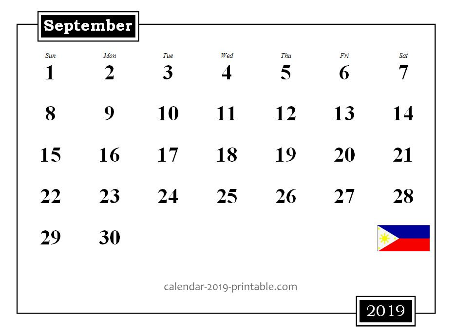 Philippines 2019 Holidays Blank Editable Printable Calendar