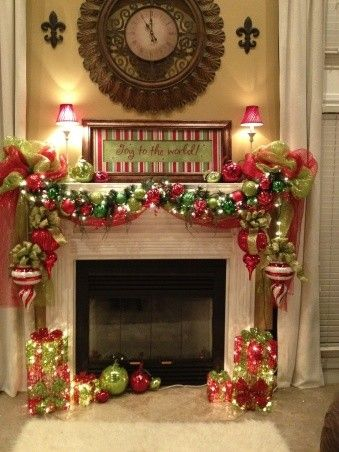 Embellished Fireplace....garland With Deco Mesh And Oversized Ornaments