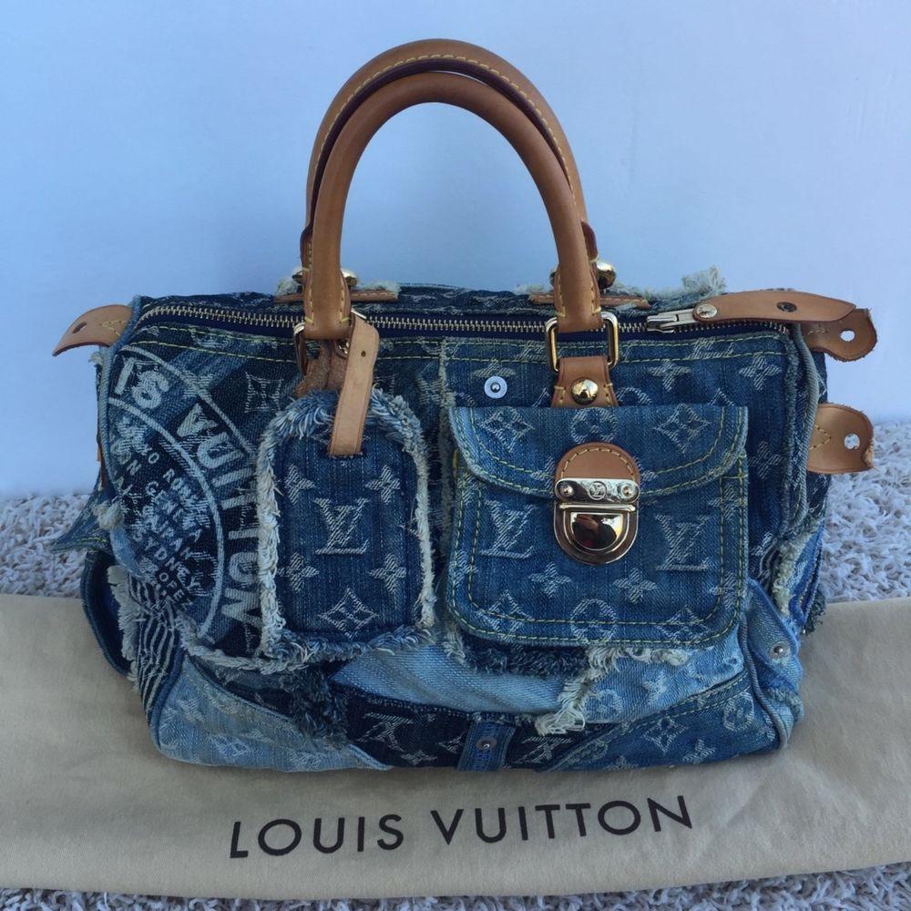 173f3c9876eb AUTH LOUIS VUITTON SPEEDY 30 PATCHWORK BLUE DENIM BAG Very rare!   LouisVuitton  HandBag