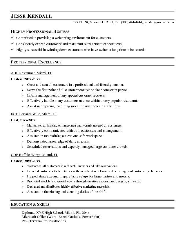 Resume Examples For Restaurant Server  Template