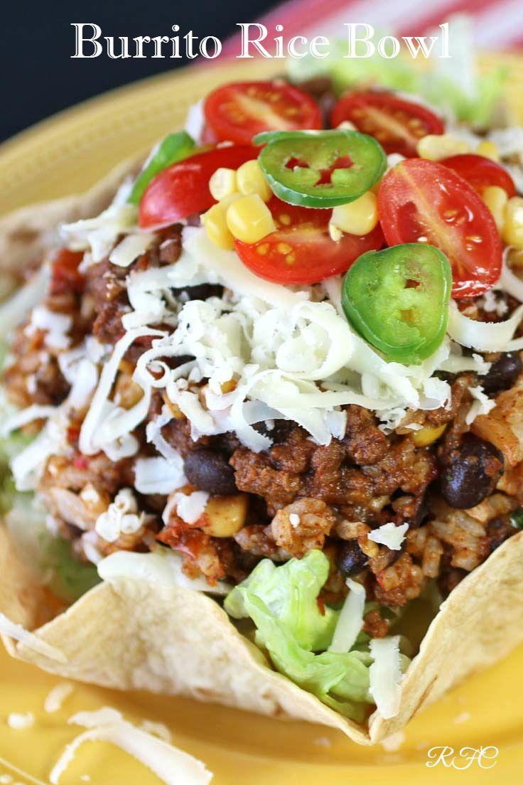 Burrito Rice Bowl Recipe Rice Bowls Recipes Beef Recipes Bowls Recipe