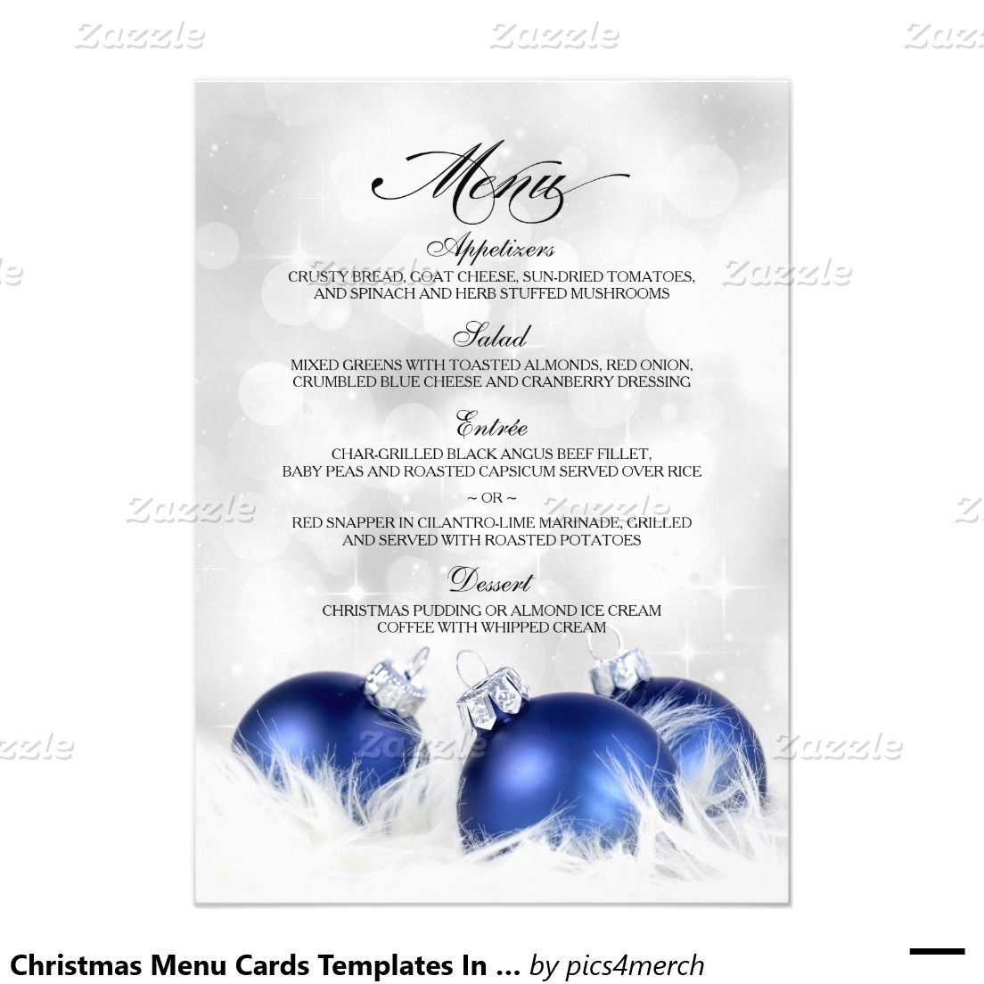 christmas menu cards templates in blue and silver fia pinterest