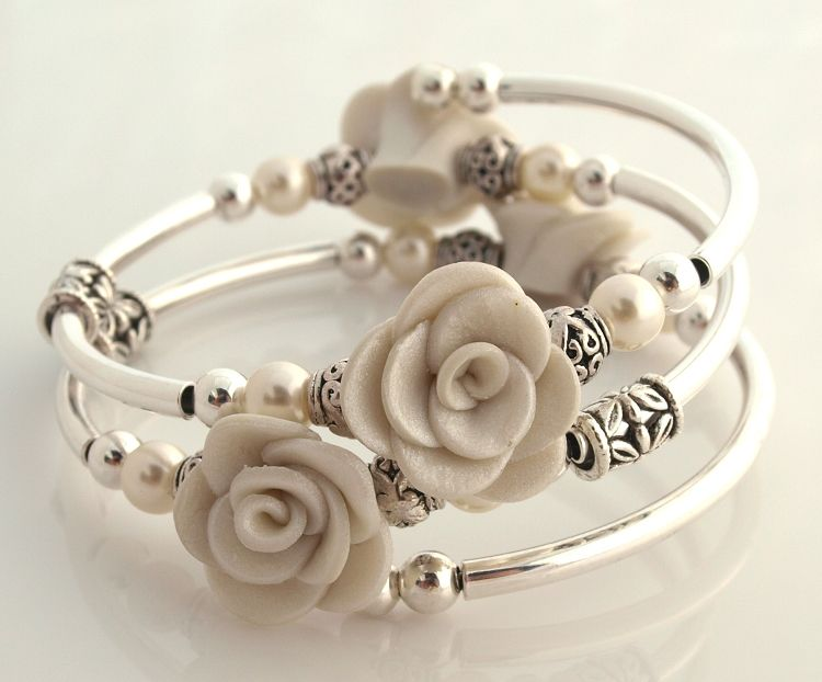 Embraceling - Limited Edition Pearl Rose Poly clay - $25 SO PRETTY
