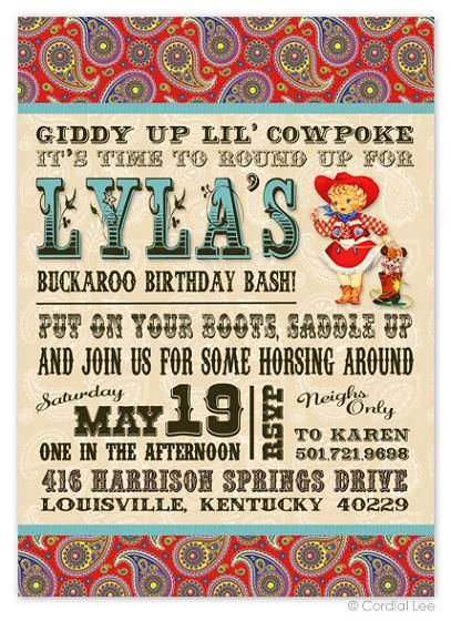 Vintage Cowgirl Birthday Invitation
