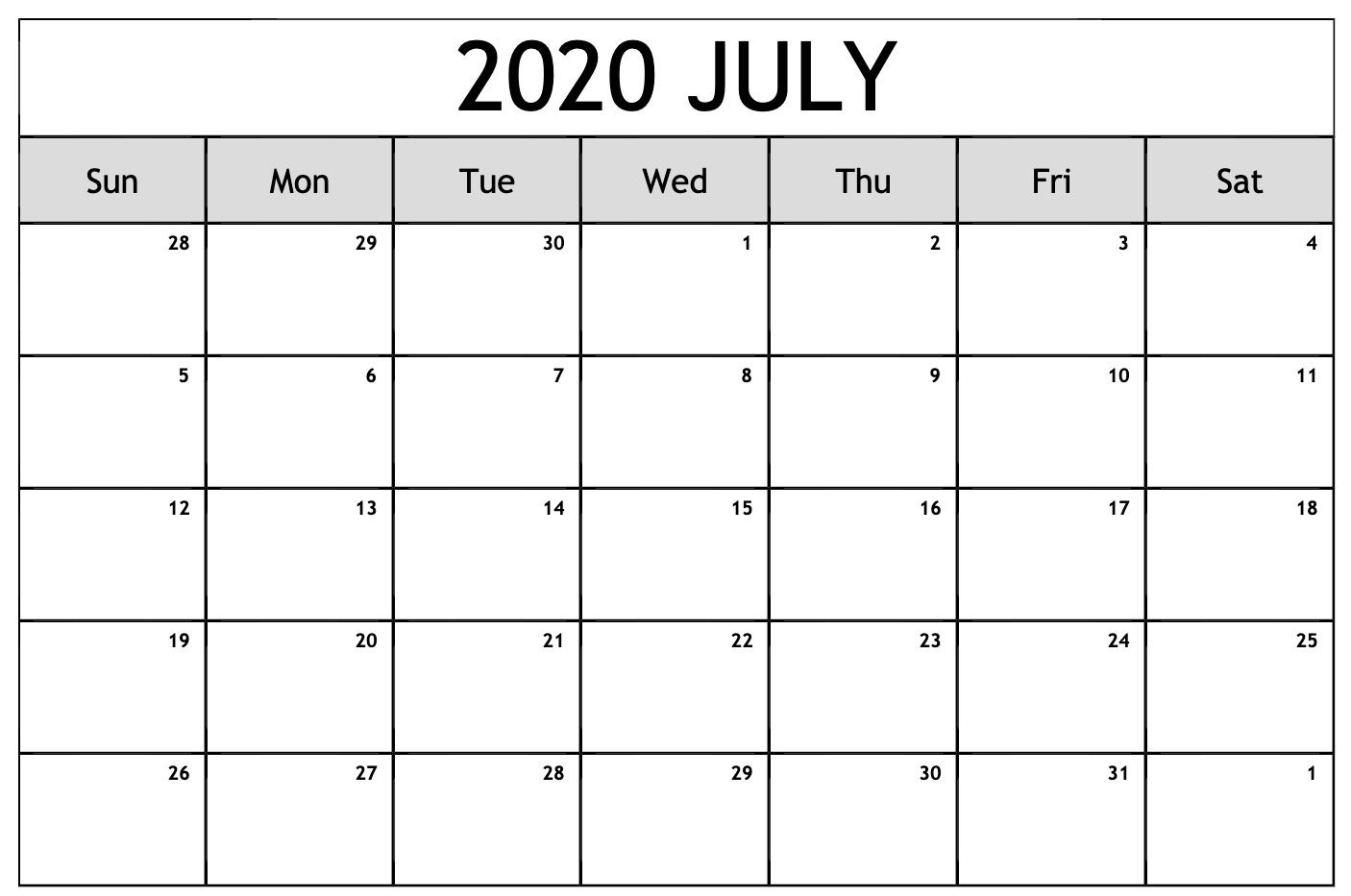Free Monthly July 2020 Calendar Template Printable Calendar