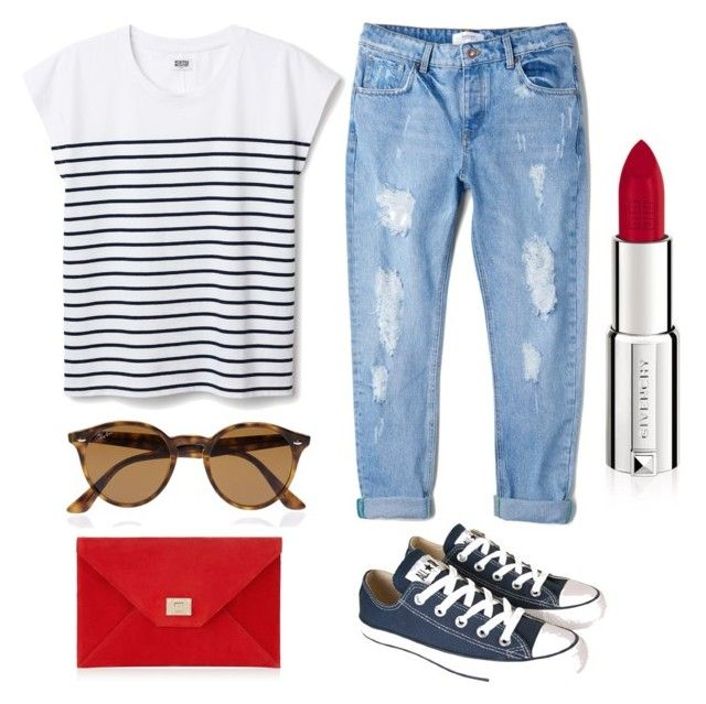 Navy chic ⚓️ by aldanaa15 on Polyvore featuring polyvore, mode, style, MANGO, Converse, Jimmy Choo, Ray-Ban and Givenchy
