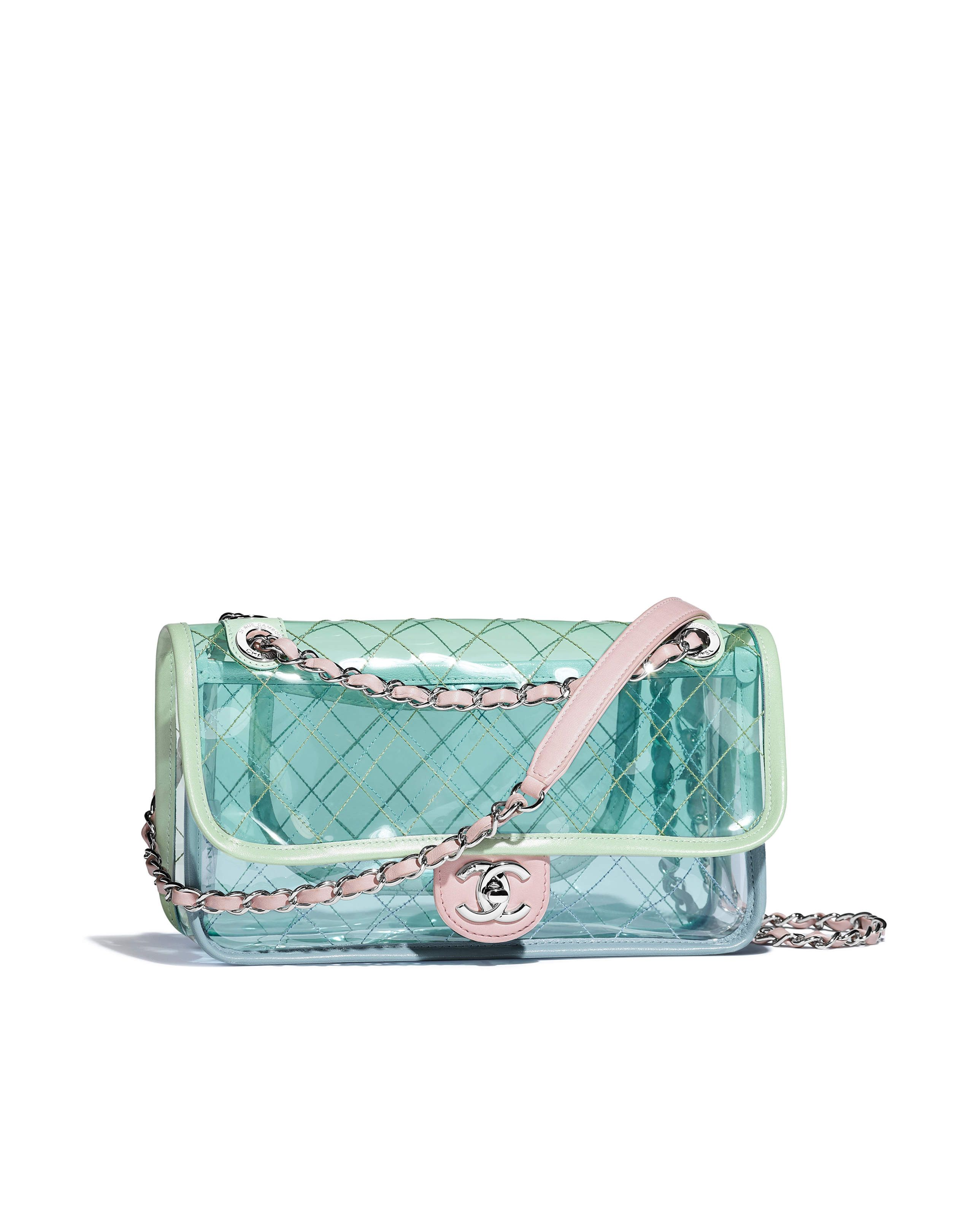 ccd6cbc74a2 Flap bag, pvc, lambskin & silver-tone metal-blue, green & pink - CHANEL