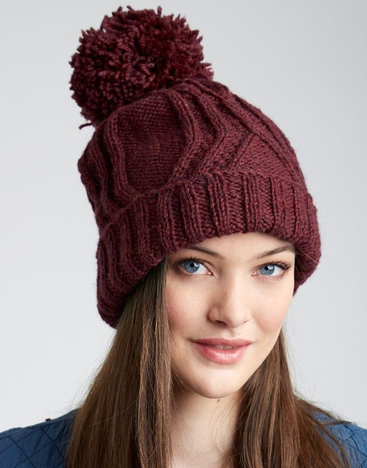 70a19e898 Free knitting pattern for Cable Traveller Hat with pompom