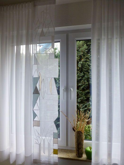 Gardinen mit geometrischen mustern von uri design annette - Gestaltung von fenstern mit gardinen ...