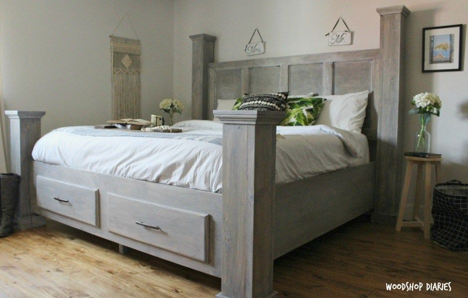 Diy farmhouse storage bedfree woodworking plans and