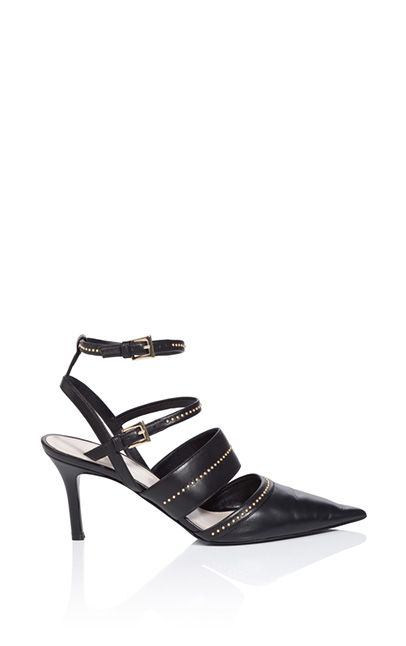 Designed with a cut-out detail,gold-tone studs and finished with a double buckle fastening, this slingback leather sandal has plenty of…