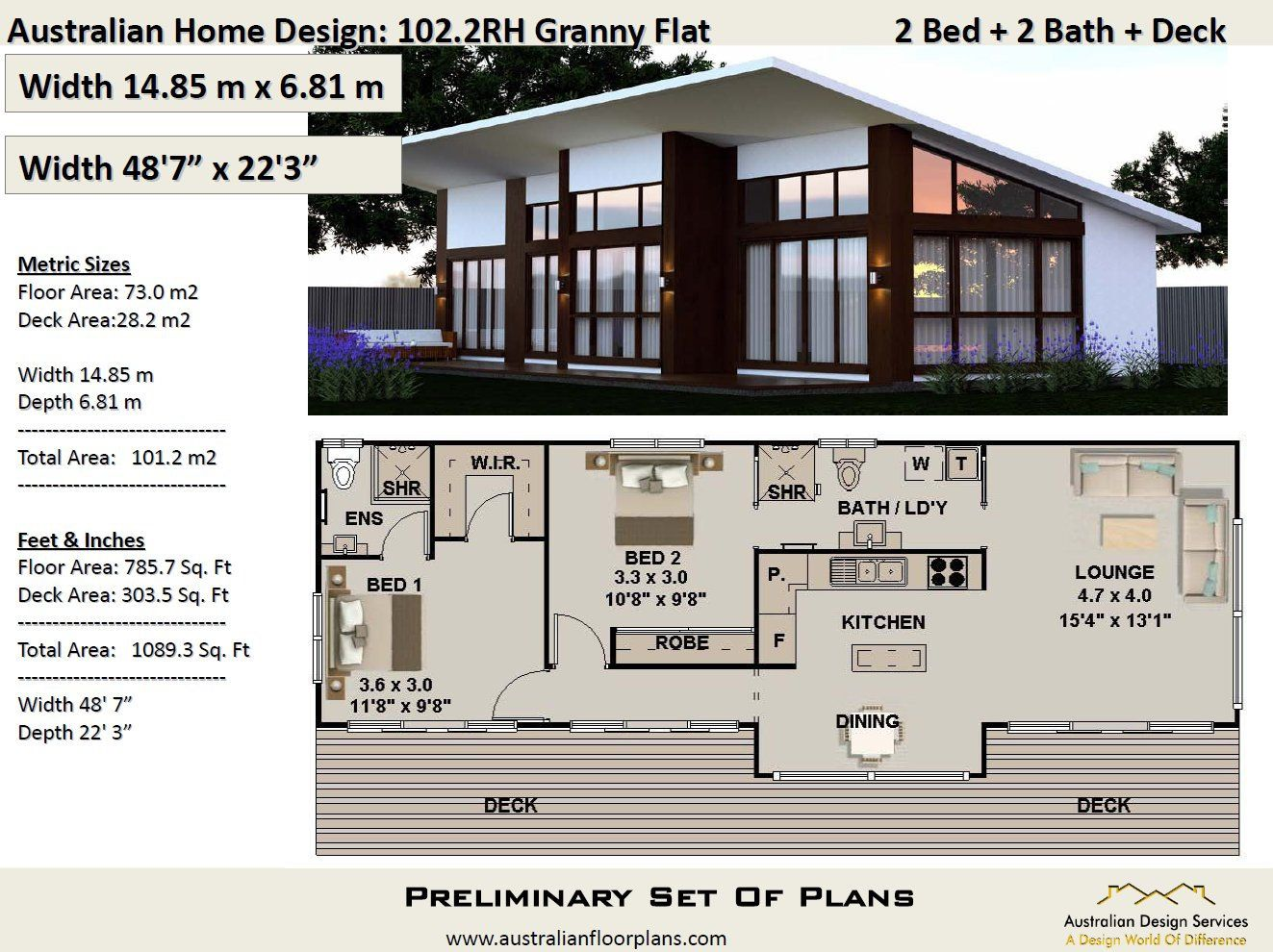 Small 2 Bedroom house plan 101.2 m2 or 1089 sq foot, Small