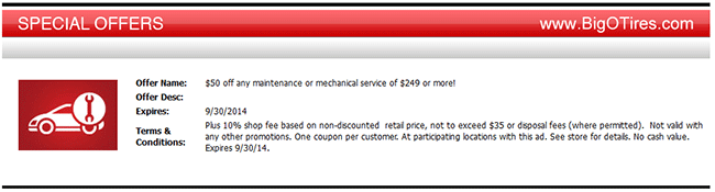 Big O Tires Coupon Get 50 Off Any Maintenance Or