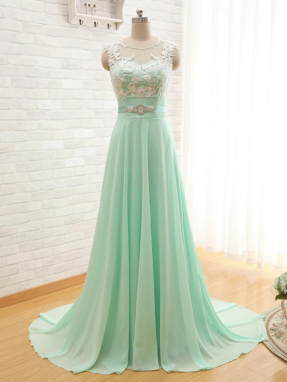 Beautiful Mint Green Long Chiffon Party Dress Charming Bridesmaid Dress Mint Green Prom Dress Long Bridesmaid Dresses Green Prom Dress [ 1333 x 1000 Pixel ]