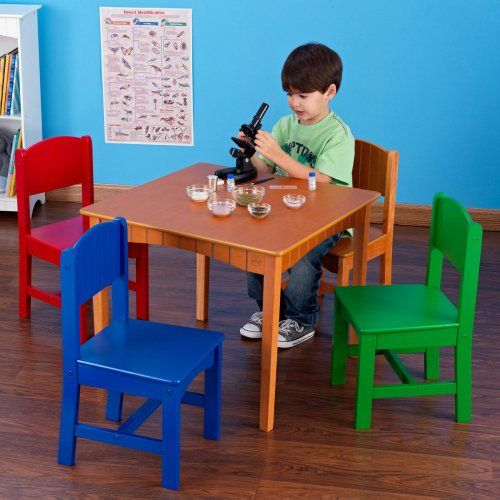 Beautiful Colorful Kids Furniture 5 Piece Primary Color Wood Play Table And Chair Set Non  Toxic Paint