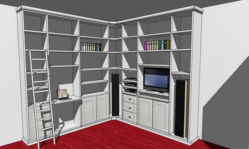 Disegno in 3D della Libreria Angolare su Misura a Roma | Libreria ad ...