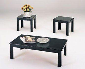 Best 3 Piece Black Wood Veneer Coffee Table Set With Coffee 400 x 300