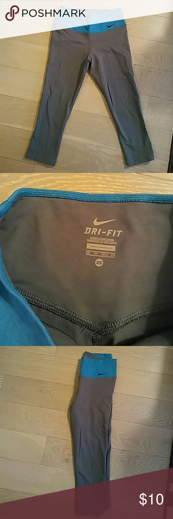 Nike crop yoga pants sz XS Blue and gray nike crops, size XS (extra small). Worn maybe once, no wear and tear Nike Pants Leggings