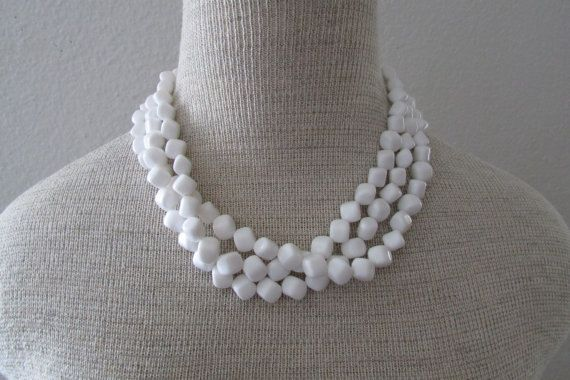 140911 Vintage 1990s White 3 Strand Chunky Choker by CajunRabbit