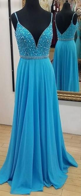 2019 A-line Beaded Long Prom Dresses Custom-made School Dance Dress Fashion Graduation Party Dress YDP0496 #schooldancedresses