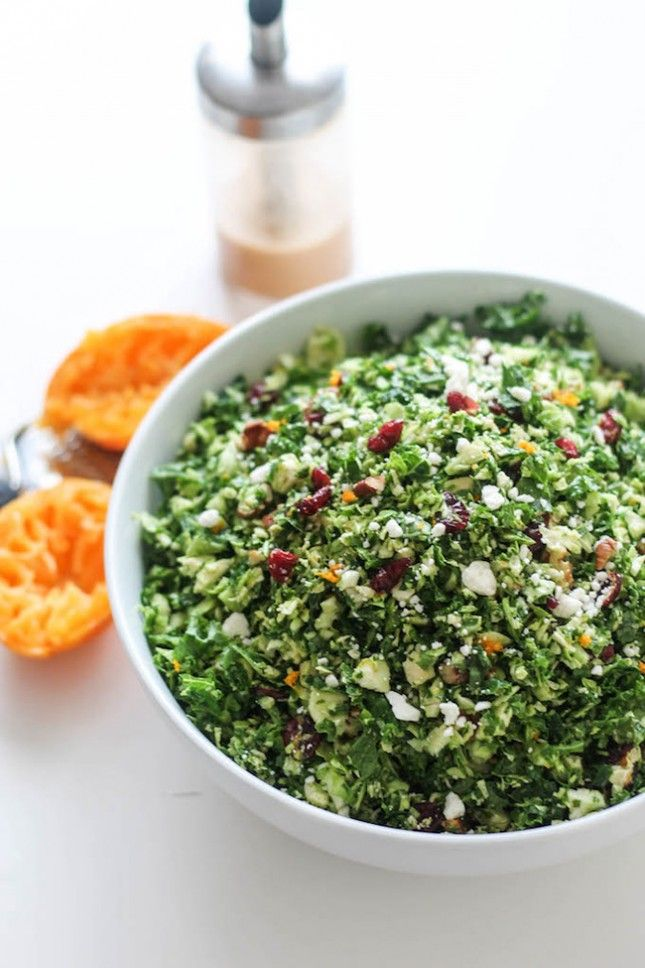 Keep on top of your New Year's resolution with this Orange-Infused Kale + Brussels Sprouts Salad.