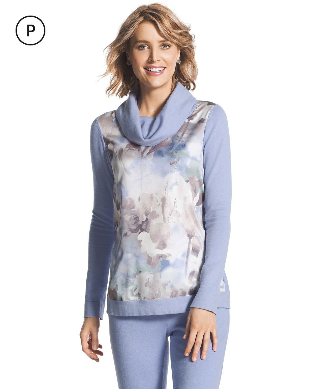 Chico's Women's Zenergy Petite Cotton Cashmere Printed Cowl Neck ...