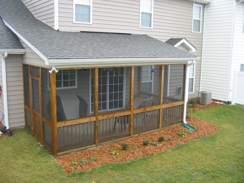 Small screened in porch designs screened patio designs with drainage ditch ideas for the Screened porch plans designs