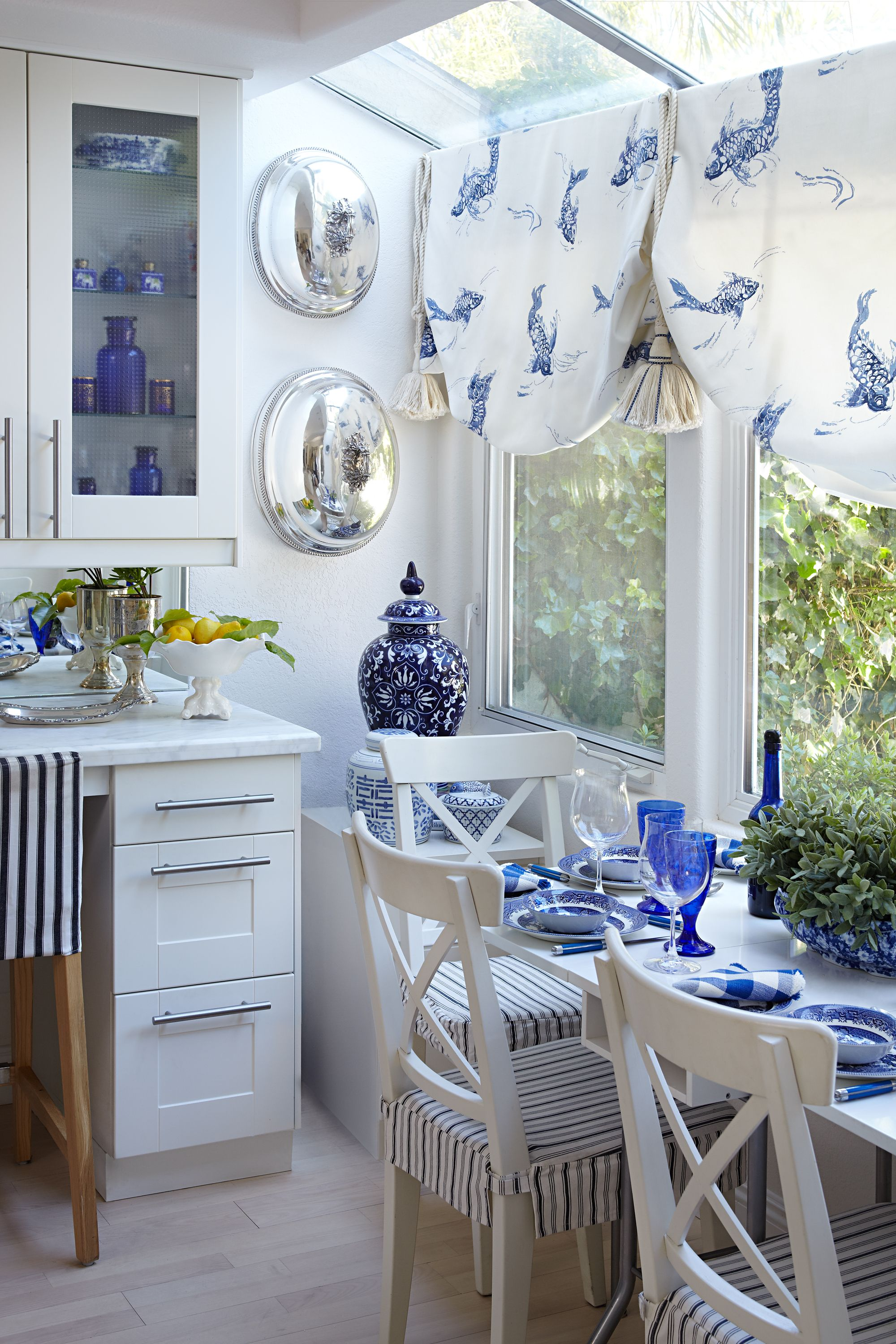 Kitchen nook window treatments  blue and white kitchen  country homes and cottages  pinterest