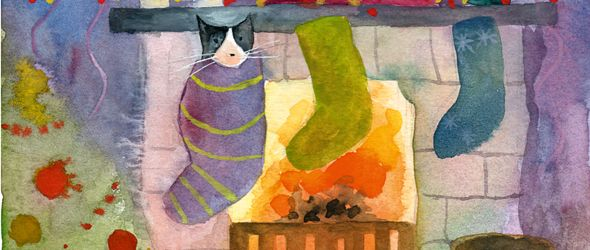 cat in stocking by Anna Shuttlewood Christmas Pinterest