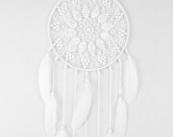 White Dream Catcher Large Dreamcatcher Crochet Doily
