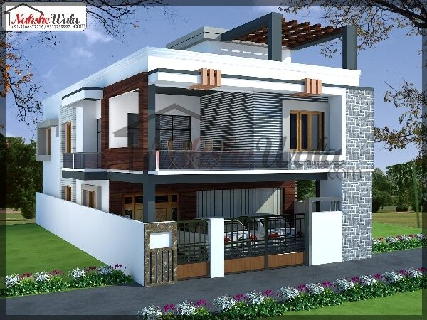 Front elevation designs for duplex houses in india for Indian house outlook design