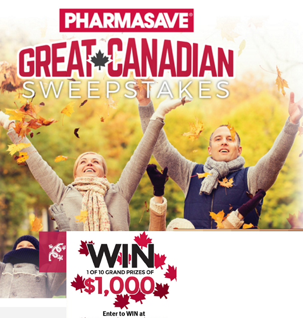 Pharmasave Canada Contest-Win $1,000 Cash & $100 Gift Cards
