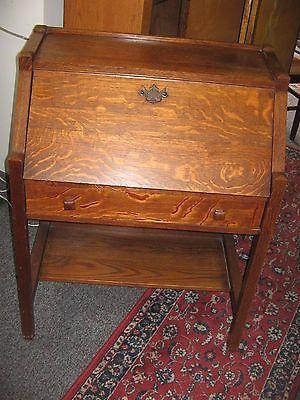 Antique Drop Front Secretary Desk >> Details About Antique Drop Front Secretary Desk Oak Arts And